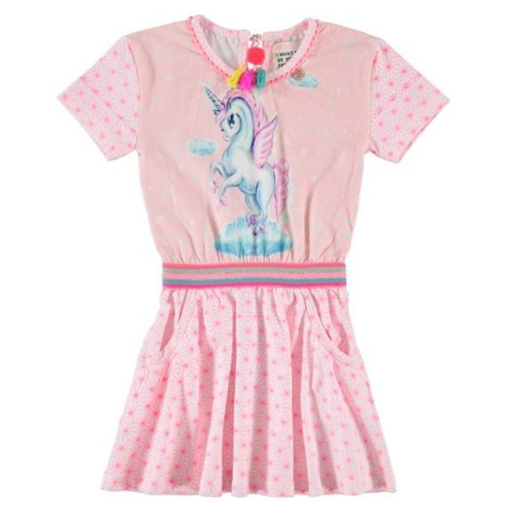Mim-pi Girls Pink Short Sleeve Unicorn Dress